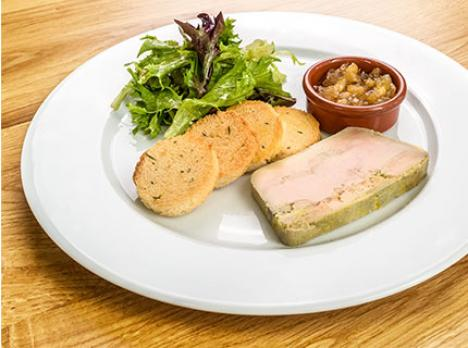 Terrine de foie gras, chutney de fruits